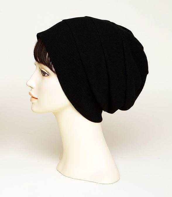 皱褶针织帽(黑色)
