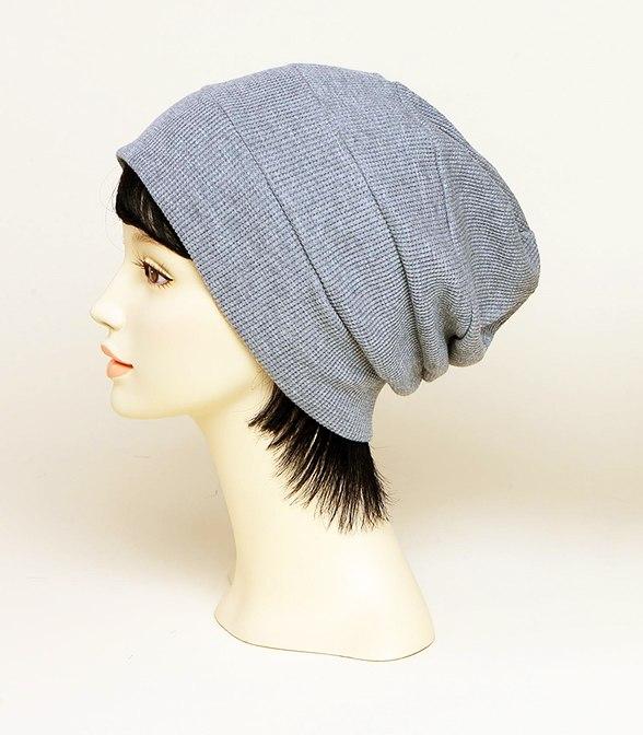 皱褶针织帽(灰色)